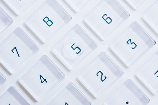 Keys of a white calculator