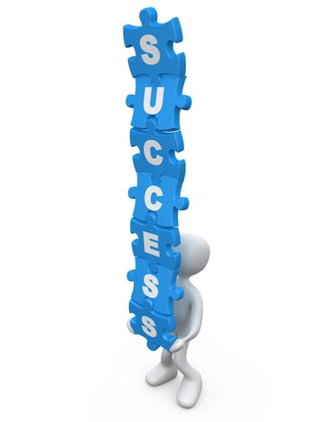 Person balancing jigsaw puzzle pieces with the word success on them.