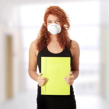 Student woman with mask