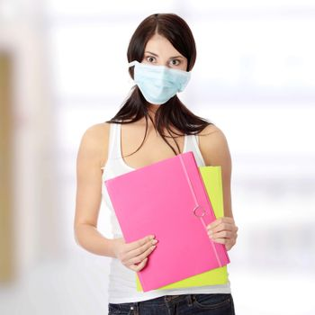Student woman with mask on her face