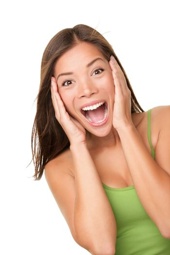Surprised excited woman