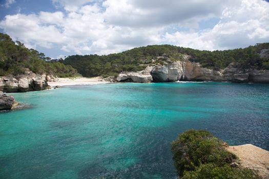 beach and cliff at Menorca