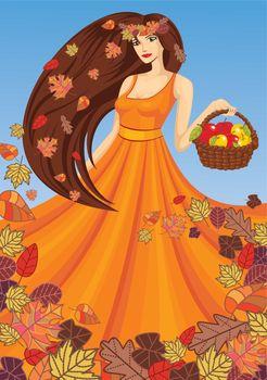 vector lady autumn