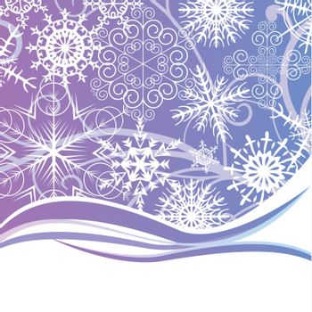 abstract background with different snowflakes