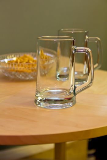 beer mugs row on table, Friday order