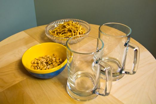 nuts of the peanut chips and tankards