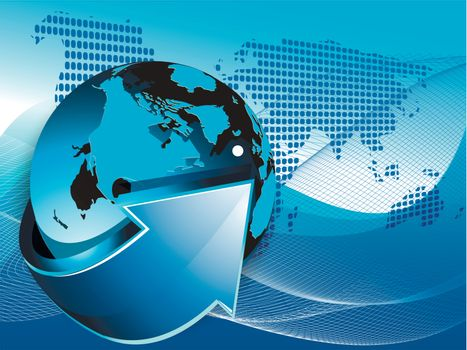 illustration texture globe on net like blue background
