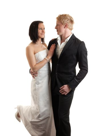 young couple posing attraction