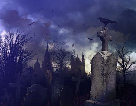 Night scene in a spooky graveyard