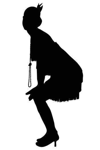 White background with 1920 vintage female silhouette