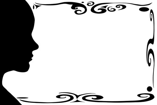 Isolated female silhouette with swirl border