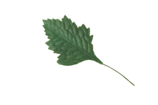 Artificial green leaf on a white background