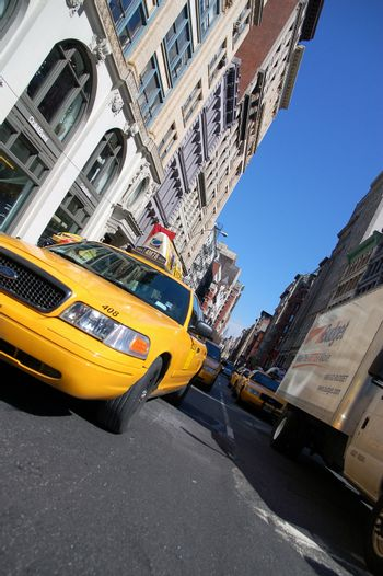 Street photography of New York cab