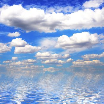 blue sky in summer and water reflection showing nature concept