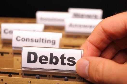 dept word on business folder showing finance or financial concept