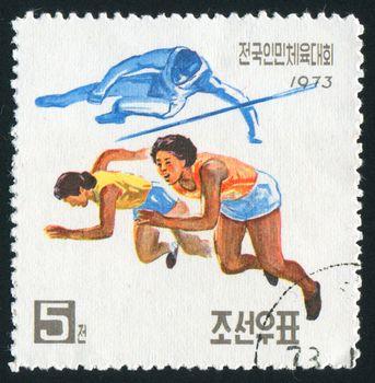 NORTH KOREA - CIRCA 1973: People�s Athletic meeting, circa 1973.