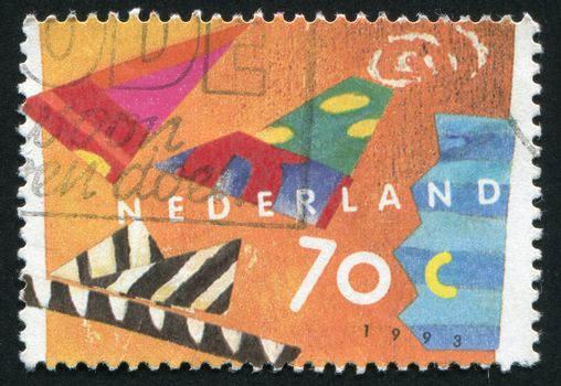 NETHERLANDS - CIRCA 1993: Stamp of the Netherlands with an abstract, colour background, circa 1993.