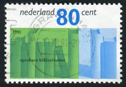 NETHERLANDS - CIRCA 1991: Stamp of the Netherlands with an abstract, colour background, circa 1991.
