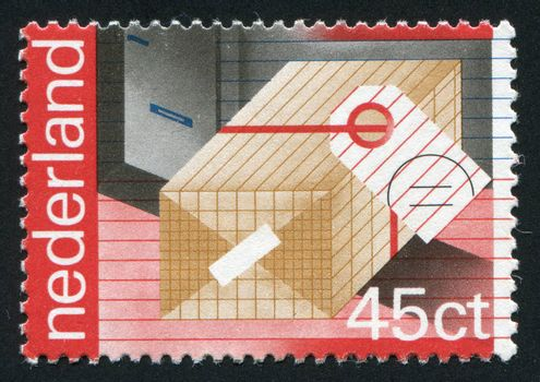 NETHERLANDS - CIRCA 2002: Stamp of the Netherlands with an abstract, colour background, circa 2002.