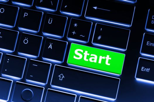 start concept with button or key showing business success concept