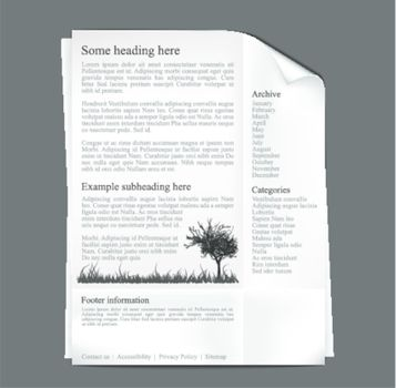Web site template - sheet of paper with black text and graphics