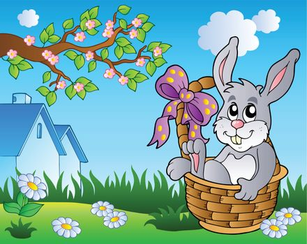 Spring meadow with bunny in basket - vector illustration.