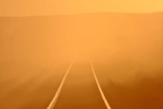 Sun glare along railroad tracks