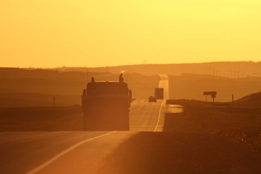 Sun glare along Trans Canada Highway