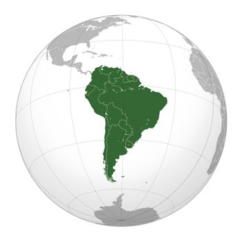 South American continent on globe