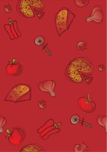 Pattern of pizza and ingredients on red background. Vector available