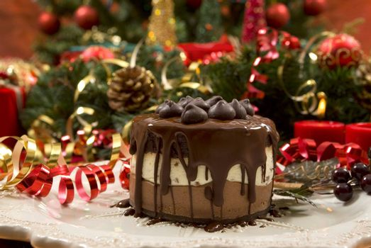 Beautifully decorated Christmas setting with gourmet desert