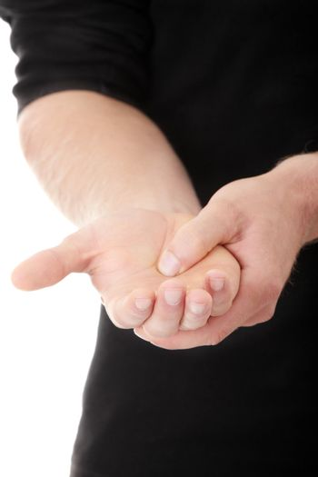 Man holding his hand