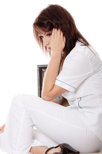 Overburdened doctor in the stress