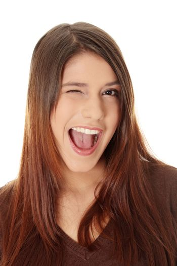 Woman with big smile blinking