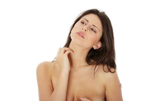 Woman scraching her self