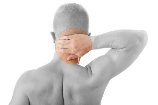 Man holding body like he is sore