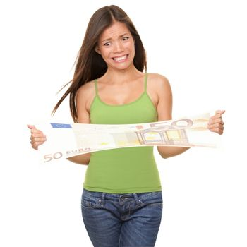 Woman Stretching Euro bill