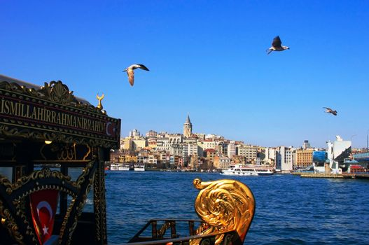 Galata tower is on the bank of Golden Horn in Istanbul, Turkey