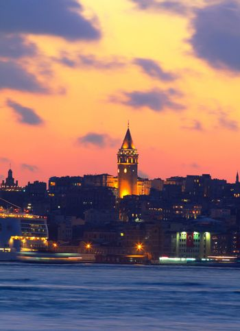 Ancient Galata Tower in Istanbul, Turkey.