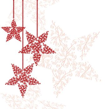 Red christmas star greeting card