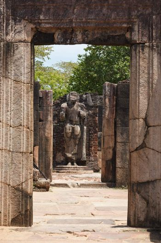 Passage in ruins to Buddha statue. Pollonaruwa, Sri Lanka