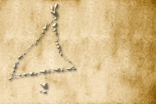 parchment christmas tree sepia golden drops