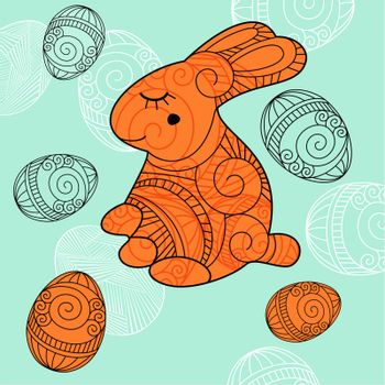 background with rabbit and eggs