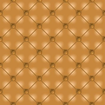 Golden brown leather seamless tile background wallpaper with buttons