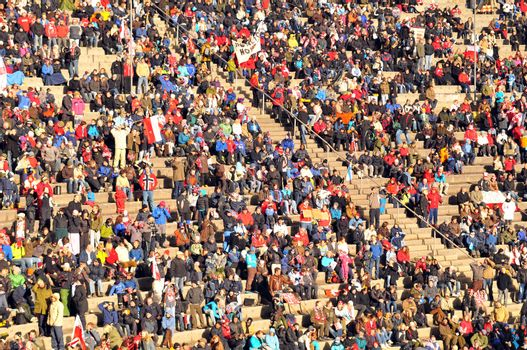 The crowd in Holmenkollen ski jump arena during the world cup competition