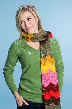Blond winter girl wearing scarf