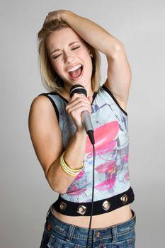 Pretty isolated karaoke girl singing