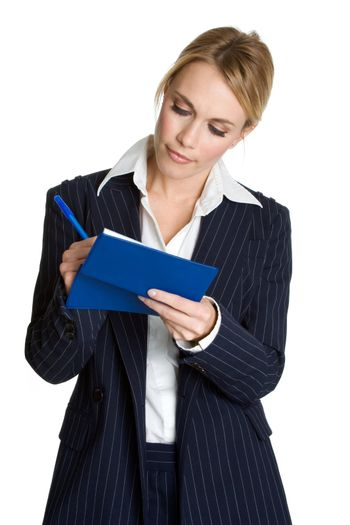 Isolated business woman writing check
