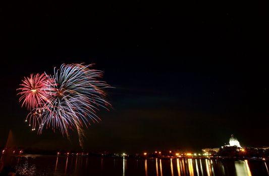Light reflections fireworks over Wascana Lake