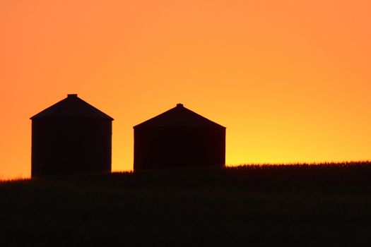Twilight and granary silhouettes